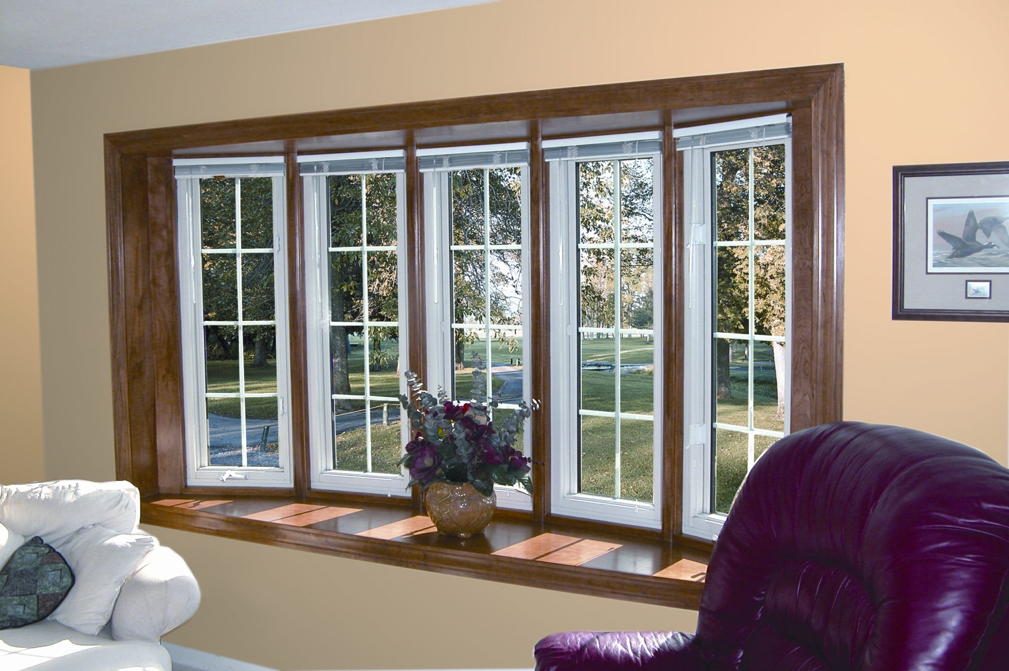 Replacement windows bay window bow window larson builders for Replacement window design ideas