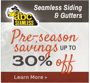 Save on ABC Seamless Siding & Gutters. Click to learn more.
